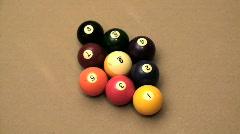 Pool 9 ball break side shot - HD  Stock Footage