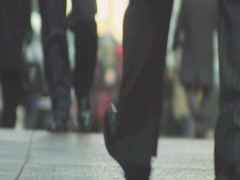 Commuter Feet Coming Grand Central Sidewalk 42nd Street Stock Footage