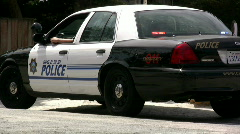 Side View of Carmel Police Car Stock Footage