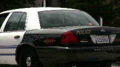 Rear End of Carmel Police Car Stock Footage