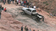 Moab Potato Salad hill diesel truck climb 2 P HD Stock Footage