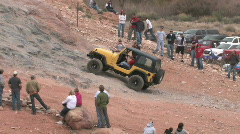 Moab Potato Salad hill yellow Jeep up P HD Stock Footage