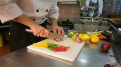 Food - Chef Slicing Onions, HD - stock footage