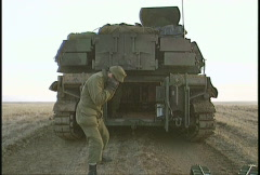 Military, M109 self propelled howitzer, rear angle of round fired Stock Footage