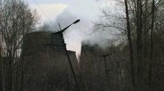 Steaming blast furnaces Stock Footage