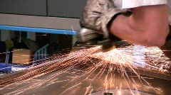 Angle grinder in action Stock Footage