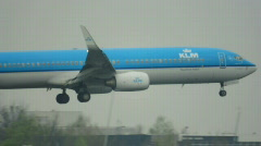 "HD720p Passenger jetliner ""KLM Airline"" landing in airport. Amsterdam. - stock footage"