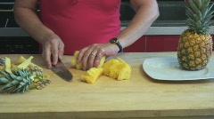 Preparing pineapple - cooking - seq 7 Stock Footage