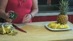 Preparing pineapple - cooking - seq 8 Stock Footage