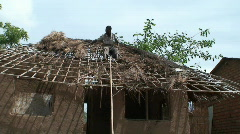 Malawi: repairing roof 2 Stock Footage