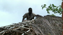 Malawi: repairing roof 3 Stock Footage
