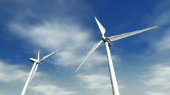 Low angle wind turbines with clouds in the background - 8. HD1080p. - stock footage