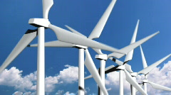 Close up of wind turbines with clouds in the background - 11. HD720p. Stock Footage