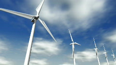 Low angle wind turbines with clouds in the background - 7. HD1080p. Stock Footage