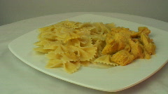 Bow tie pasta and mustard chicken ver 4 Stock Footage