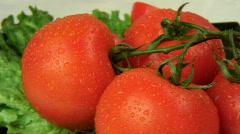 Vegetables - vine ripe tomatoes  Stock Footage