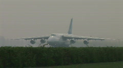 HD1080i Jumbo cargo airplane jetliner Antonov Designer Buro. Take off. Sound. Stock Footage