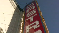 Castro Theater Sign to Street Pan Stock Footage