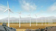 Wind turbine farm in the field. HD720p. Stock Footage