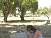 Beautiful Brunette in a Cemetery-12 Stock Footage