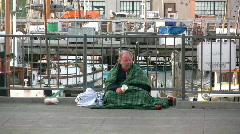 Homeless Man with Cup Stock Footage
