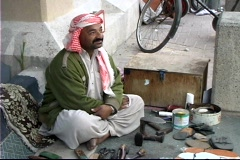 Qatar Shoe repair Stock Footage