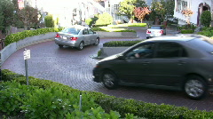 Three Cars going down Lombard Street Stock Footage