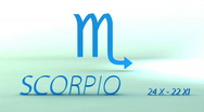 Stock Video Footage of 3d rotating scorpio zodiacal symbol with name and date, loopable