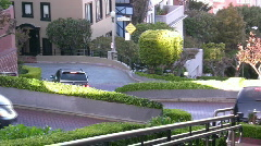 Cars Driving Down Lombard Street Stock Footage