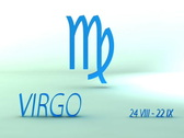 3d rotating virgo zodiacal symbol with name and date, loopable Stock Footage