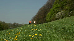 nordic walkers towards camera wide - stock footage