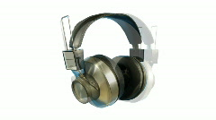 Headphone music dj vintage retro party audio sound Stock Footage