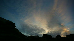 Glorious Sky Time Lapse, Sunset, Rock Silhouettes, Cloudscape  Stock Footage