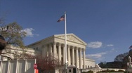 Supreme Court Building & American Flag Stock Footage