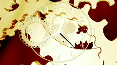 Golden clock and gears Stock Footage
