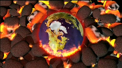 Earth Burn Over Coals Fire Heat Stock Footage