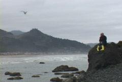 Woman on Ocean Rock 5 Thinking Stock Footage