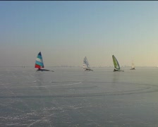 Ice sailing on a cold winterday in the Netherlands Stock Footage