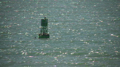 Buoy bobs in ocean on a sunny day (High Definition) Stock Footage
