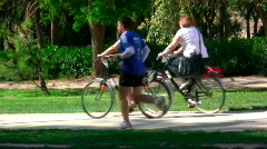 People and sports by the garden Stock Footage