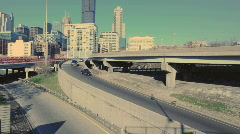 Highway Onramp Skyline Stock Footage