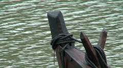 Front of old wooden viking ship Stock Footage