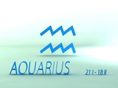 Stock Video Footage of 3d rotating aquarius zodiacal symbol with name and date, loopable