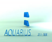 3d rotating aquarius zodiacal symbol with name and date, loopable Stock Footage