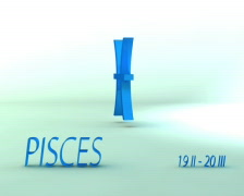 3d rotating pisces zodiacal symbol with name and date, loopable - stock footage