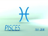 Stock Video Footage of 3d rotating pisces zodiacal symbol with name and date, loopable
