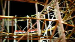 Rollercoaster, Roller Coaster, Show Ride Amusement Park at Night Stock Footage