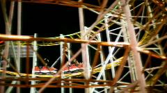 Rollercoaster, Vuoristorata, Näytä Ride huvipuisto yöllä Arkistovideo