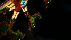 Show Ride - Fair, Amusement Park at Night Stock Footage