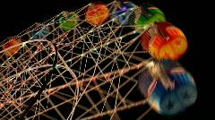 Ferris Wheel, Show Ride - Fair, Amusement Park at Night Stock Footage